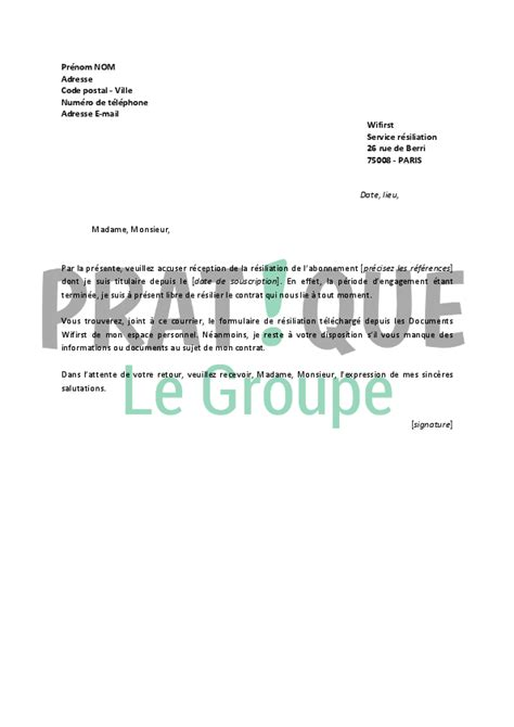 Modeles De Lettre Pour Changement D Adresse Modele Lettre Resiliation Wanadoo Document
