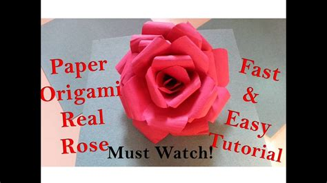 origami rose tutorial youtube how to make paper rose flower real origami rose quick