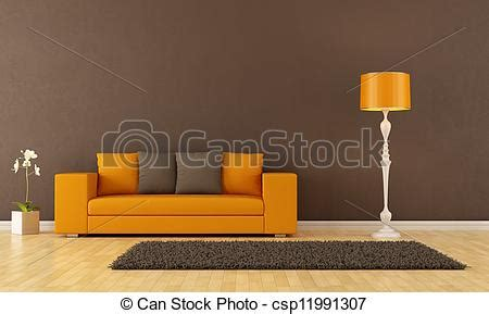 Brown Living Room Clipart Stock Illustration Of Brown Living Room With Orange