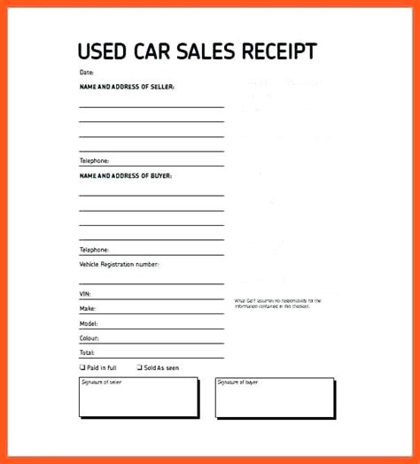 sales receipt template for selling a car sales receipt templates vehicle sales receipt exle