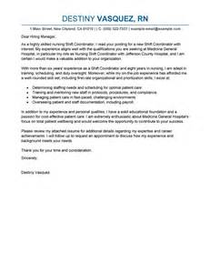 leading professional shift coordinator cover letter