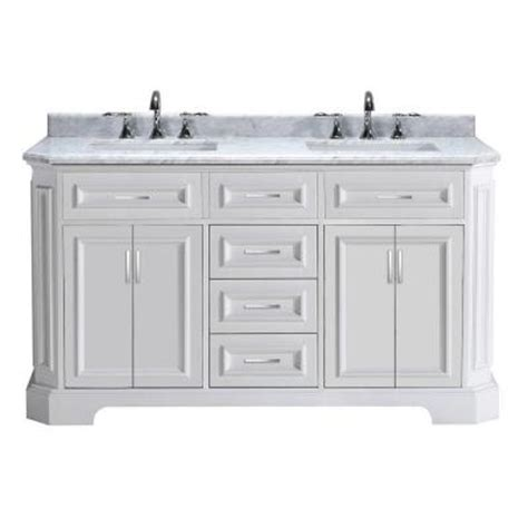 Bristol Vanity by Bristol 60 In Vanity In White With Marble Vanity Top In Carrara White Pebristol60w The Home Depot