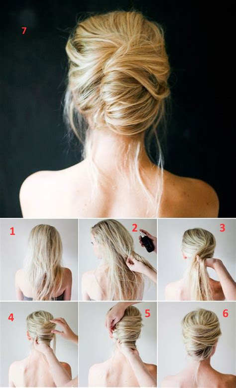easy buns hairstyles step by step easy step by step hairstyles for medium hair