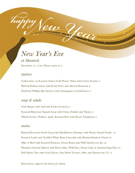new years menu template menu for new years new year s menus