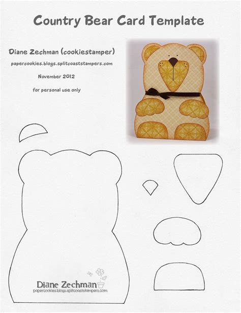 Teddy Card Template by Teddy Template Paper Crafts Card