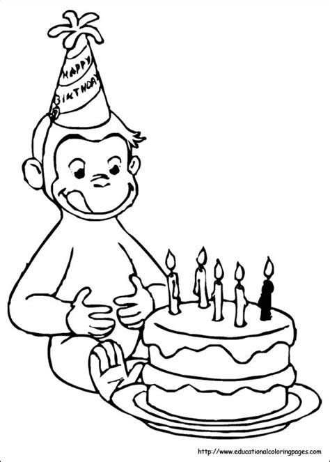 happy birthday curious george coloring pages curious george coloring pages
