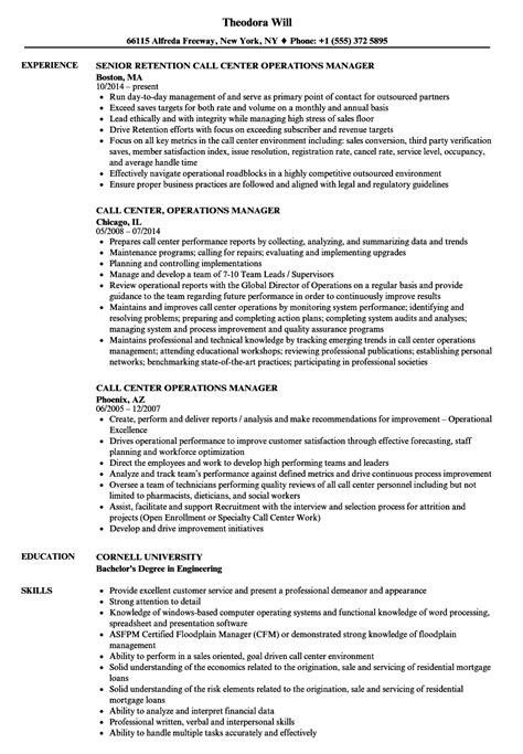 Resume Operations Manager Call Center call center operations manager resume sles velvet