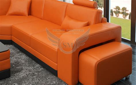 top quality orange genuine leather sofa set price with two