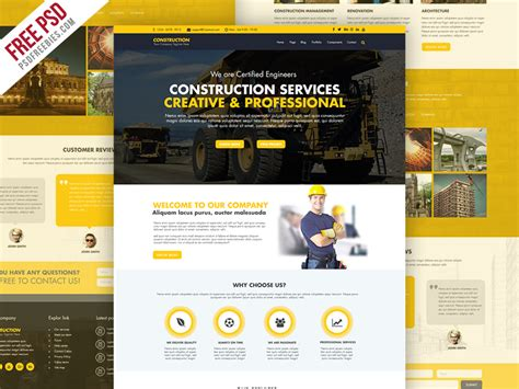 Freebie Construction Company Website Template Free Psd By Psd Freebies Dribbble Construction Website Templates
