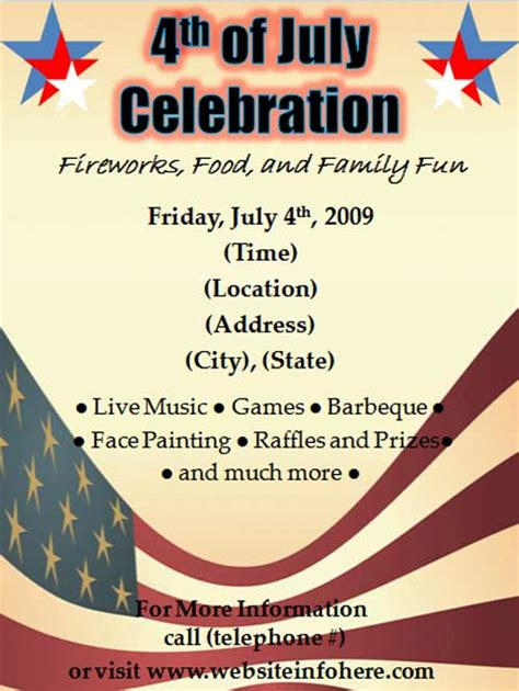 Free 4th Of July Celebration Flyer Template Free Online Flyers Celebration Flyer Template