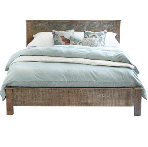 wood queen bed hton rustic teak wood queen bed frame zin home
