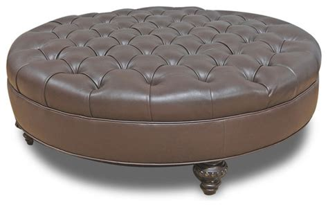 40 inch round ottoman leather tufted ottoman