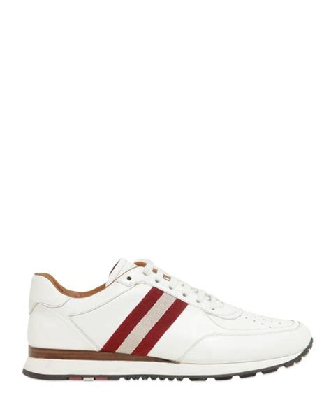 bally webbing stripe leather sneakers in white lyst