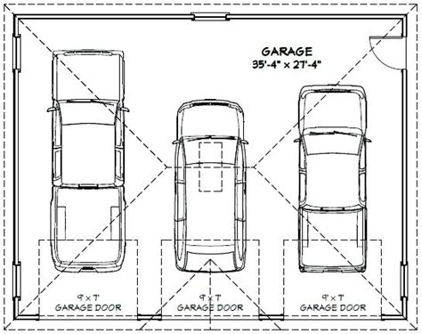 Standard 3 Car Garage Size by Average Size Detached Car Garage 3 Square Feet Dimensions