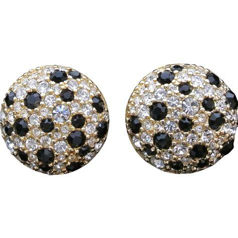 Rhinestone Clip Earrings vintage swarvoski rhinestone clip on earrings from