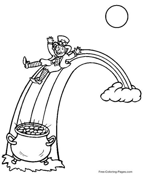 rainbow coloring page with leprechaun printable rainbow coloring page az coloring pages