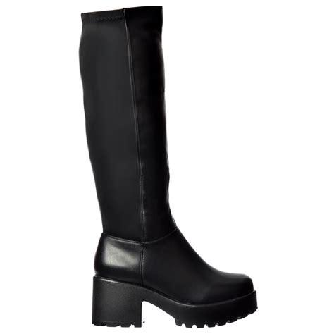 black knee high boots low heel shoekandi stretch cleated sole low block heel platform
