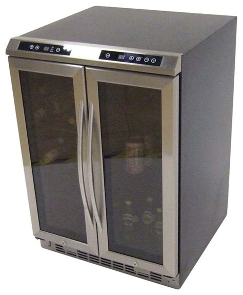 side by side dual zone wine cooler black cabinet with