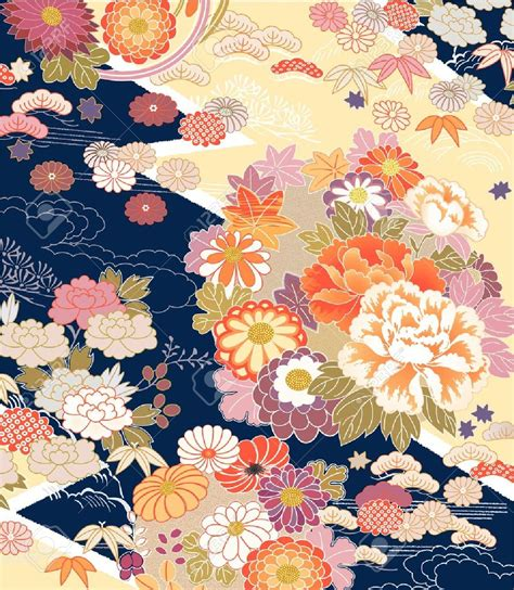 japanese pattern traditional 21945552 montage of traditional kimono motifs stock vector