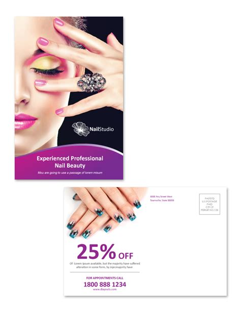nail templates free nail salon postcard template