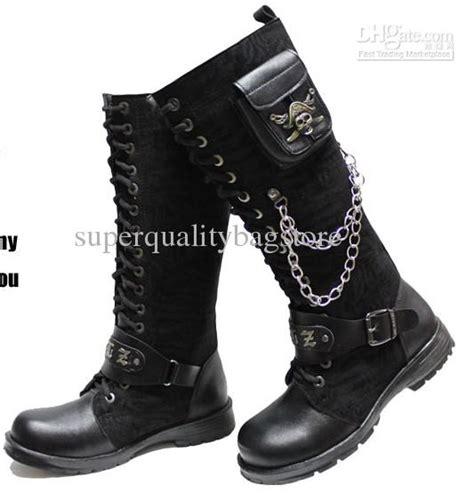 Sepatu Heel Pc 3 black s shoes knee high boots buckles cool metal skull
