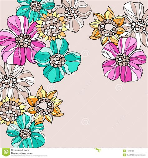 free doodle flower vector psychedelic doodle flowers vector stock vector image