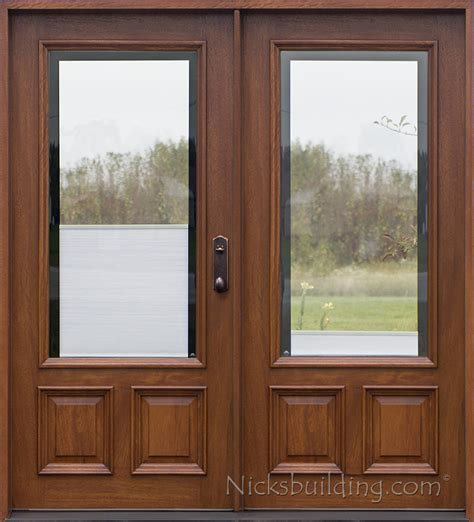 Wood Entry Doors With Glass Blinds Between Glass