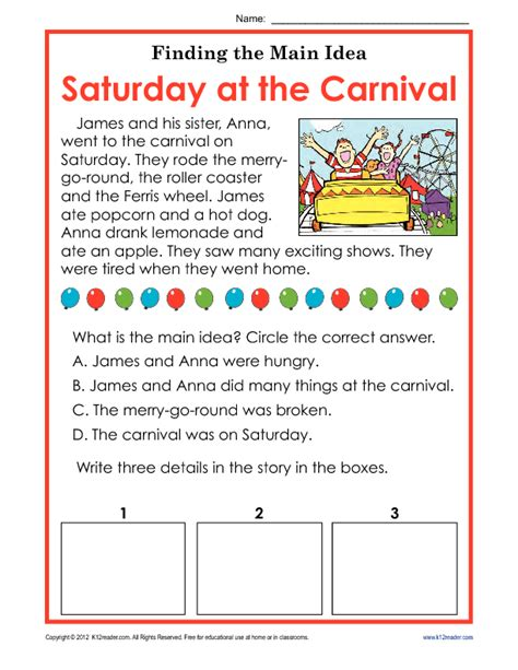 Finding The Idea Worksheets by 1st Or 2nd Grade Idea Worksheet About Carnivals