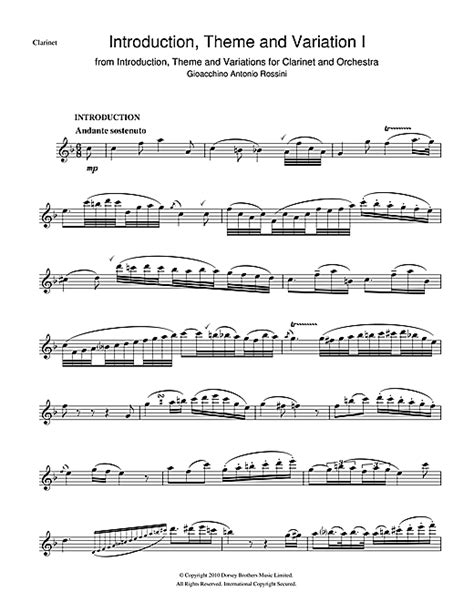 theme variations music introduction theme and variations for clarinet and