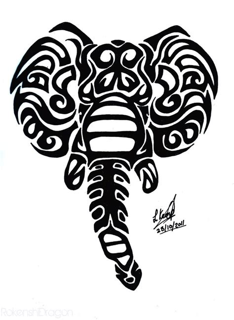 elephant tribal tattoo elephant tribal by rokenshidragon on deviantart