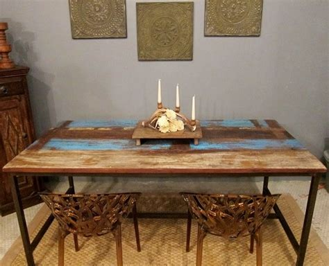 blue rustic modern dining table eclectic dining room