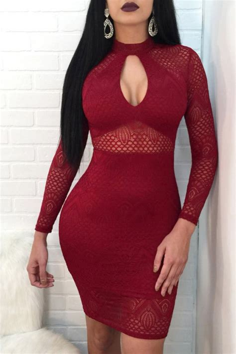 dark red burgundy keyhole hollow lace overlay sexy bodycon