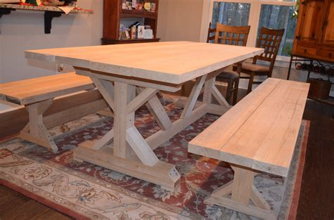 farmhouse trestle table plans our fancy smancy farmhouse table with matching benches