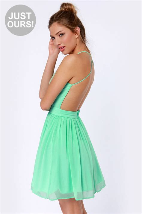 lulu s pretty mint green dress lace dress backless dress 49 00