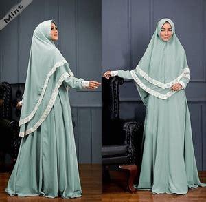 Hotlist Terlaris Gamis Syari Murah Mint Cantik Terbaru Modis setelan baju gamis syari muslimah wanita modern kombinasi renda model terbaru