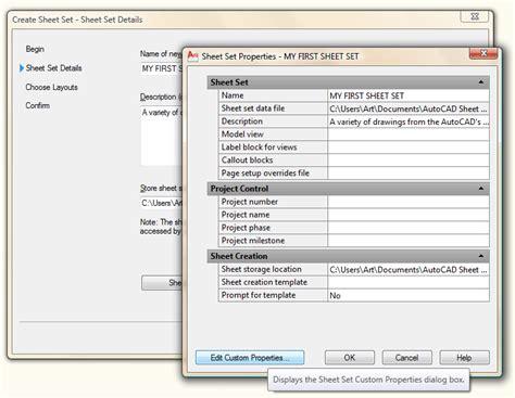 autocad tutorial sheet set sheet set properties