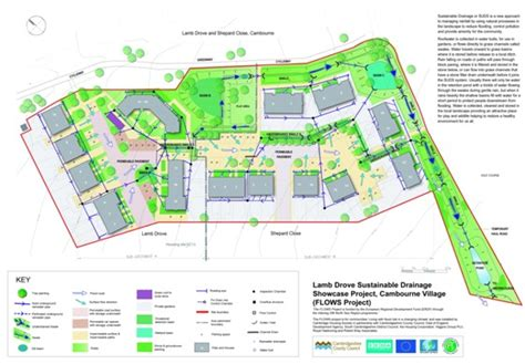 layout of schemes of work lamb drove residential suds scheme cambourne