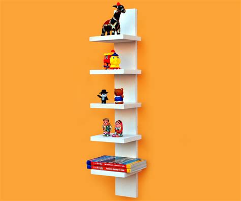 utility spine 5 tier wall mounted shelf for books cds