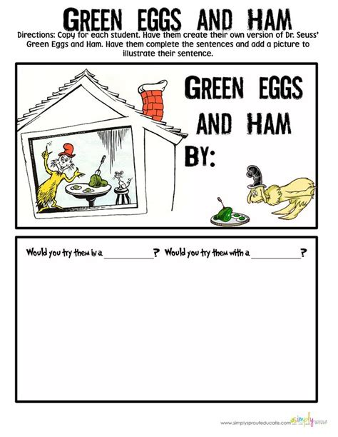 green eggs and ham writing freebie dr seuss pinterest