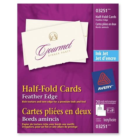 Half Fold Greeting Card Paper - feather edge half fold greeting card avery dennison 3251