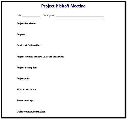 Project Kickoff Step 2 Is To Hold An Effective Meeting Itlever Project Management Kick Meeting Template