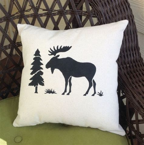 Moose Throw Pillows by Moose Decorative Canvas Throw Pillow With Envelope Closure On Back An