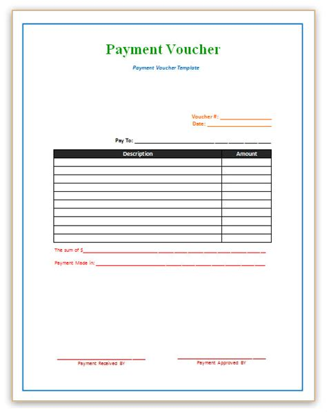 voucher template word payment voucher template
