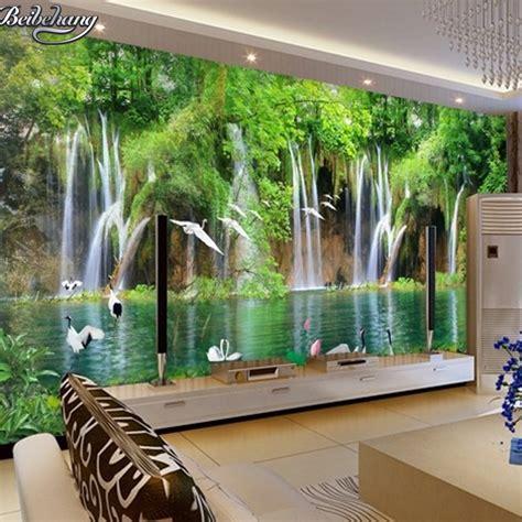 bedroom waterfalls beibehang custom wallpaper natural landscape waterfall 3d