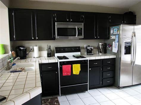 Black Kitchen Cabinets White Appliances   HomeFurniture.org
