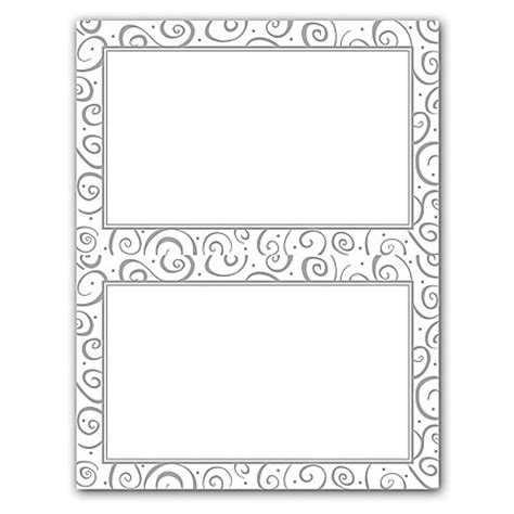 gartner studios business card template gartner studios 2 up invitations 5 12 x 8 12 silver swirl