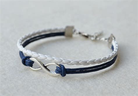 infinity bracelet silver infinity bracelet with blue wax cord and by