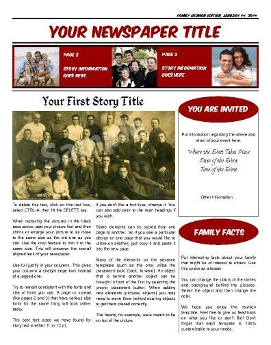 1000 Images About Family Or Class Reunion Birthday Newspaper Templates On Pinterest Family Newspaper Template