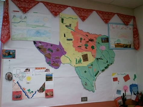 colored poster board social studies map regions traced on large colored
