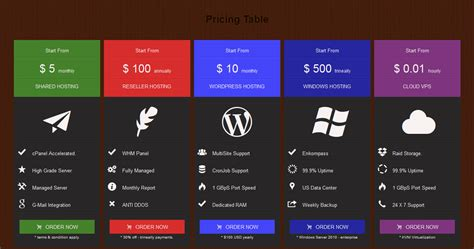 design graphics table fw responsive pricing table by awan move codecanyon